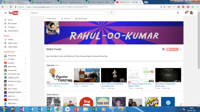 djrahul17 : I will selling a adsense approved youtube channel for $5 on  www fiverr com