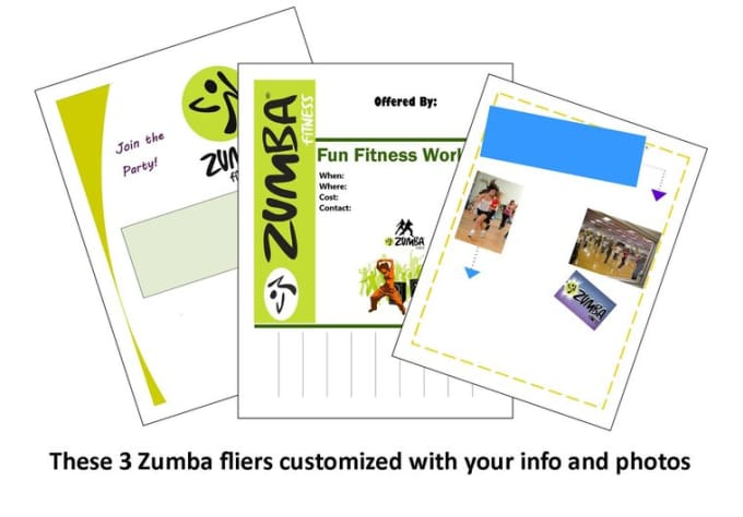 make you 3 zumba fliers to promote your classes by shellylynn23