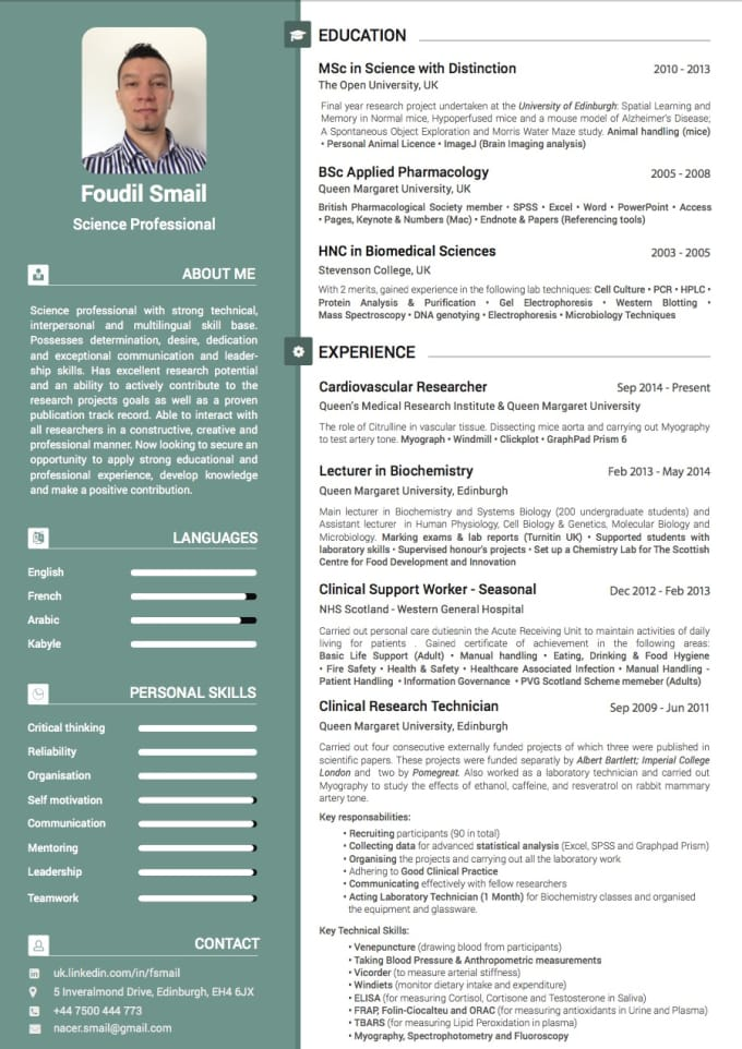 design an amazing professional cv by nacersmail