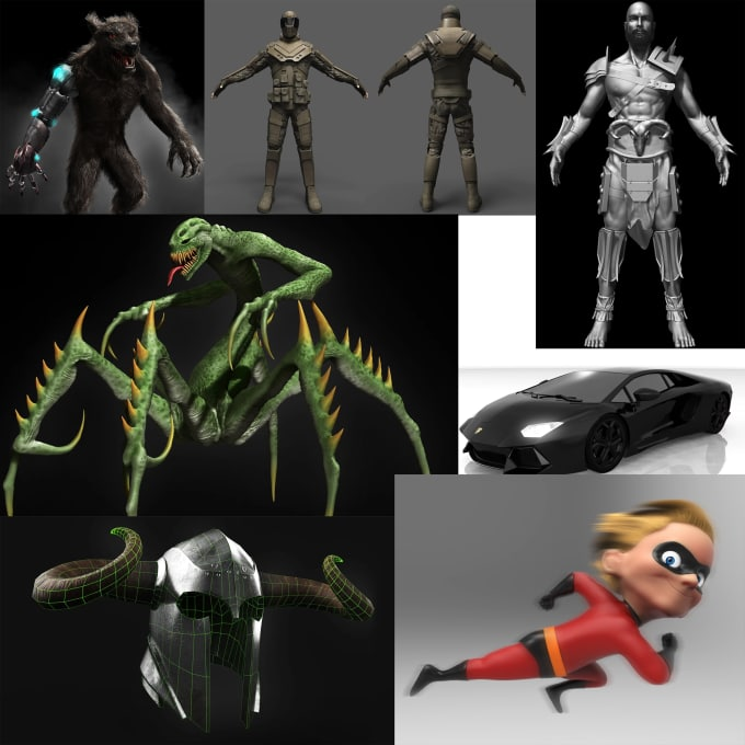 make 3d model for print, game and animation character