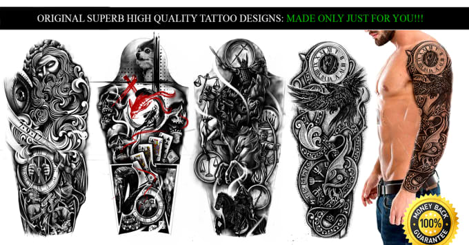 Hand Draw One Of A Kind Custom Tattoo Designs For You