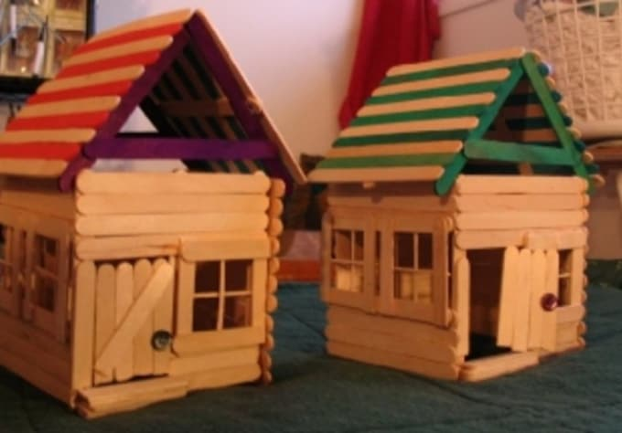 Build A Little House Out Of Popsicle Sticks