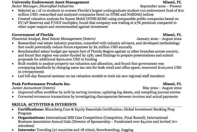 Help with investment banking and private equity resumes by Carterdre