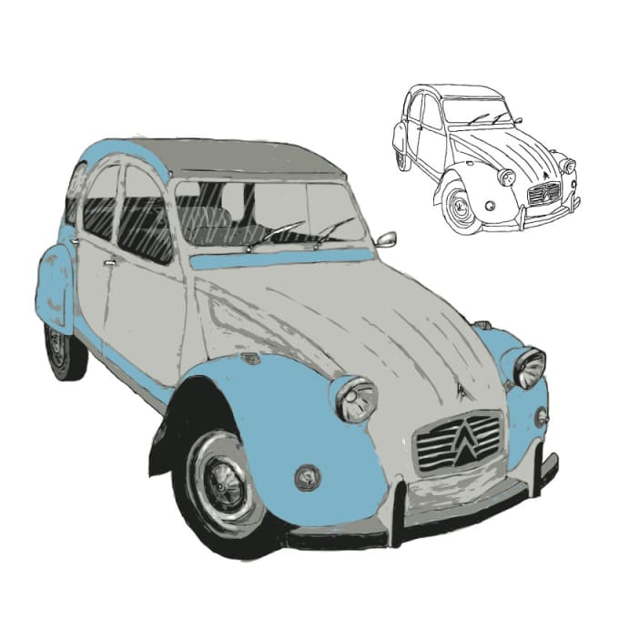 Draw Any Car In Line Or Colour