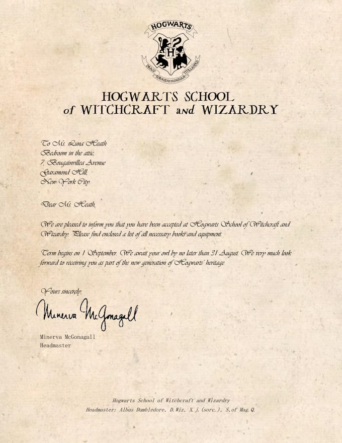 personalize a hogwartsilvermorny or any acceptance letter