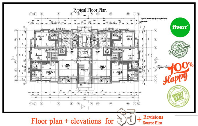 Rooms: I Will Draw 2d Apartment Or House Plan In Autocad