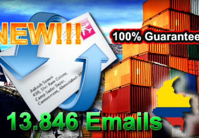 sieeeke : I will sell a list of 13,846 emails of exporters and companies  from colombia guaranteed for $5 on www fiverr com