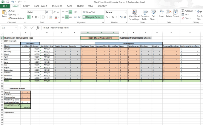 provide you an airbnb rental analysis spreadsheet by
