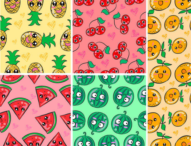 Design Cute Patterns Animalsfruitshand Drawing Style By Kongvector Extraordinary Cute Patterns