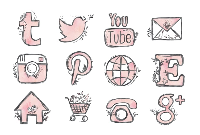 customize colors of this hand drawn social media icon set by viyiwi