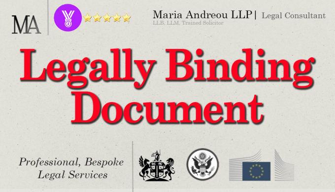 Professionally Draft Any Legally Binding Document By Mariaandr - Legally binding document
