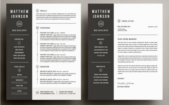 Design Resume Cv Curriculum Vitae Cover Letter