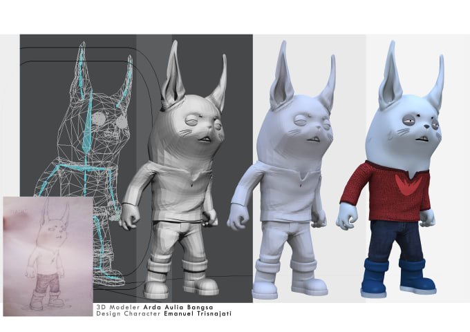 make 3d animation character from your design or sketch by ardabangsa