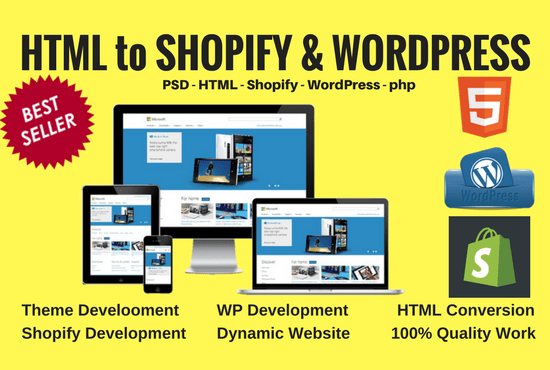 Convert html template into shopify theme or wordpress theme by ...