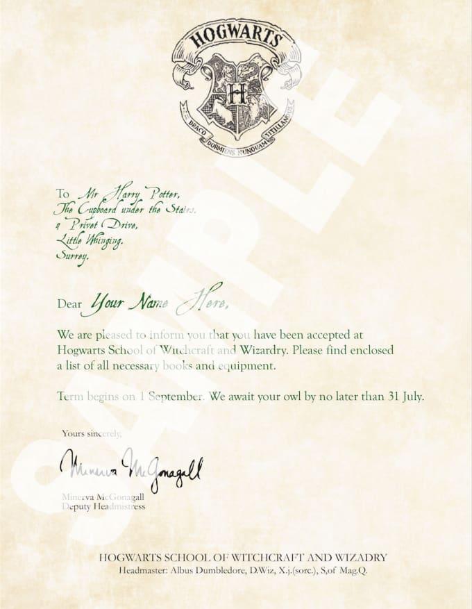 Make You A Custom Harry Potter Hogwarts Acceptance Letter By DesignsAt