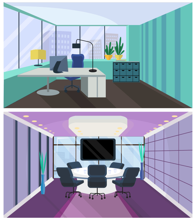 make backgrounds, interiors for motion design in flat style