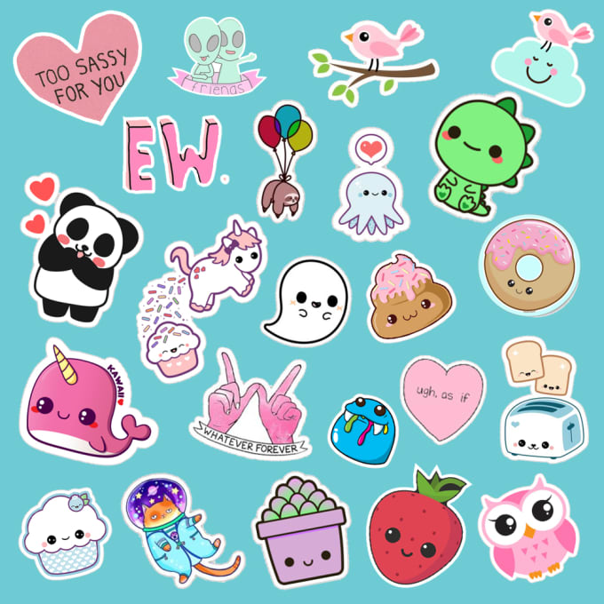 It is a graphic of Juicy Cute Stickers to Print