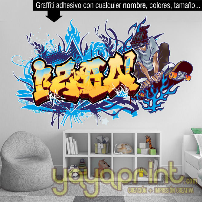 design graffiti art name with character or logo wall decal printable