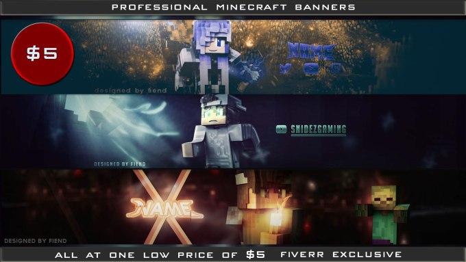 Design A 3d Minecraft Banner By Fiendgraphics