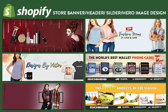 do shopify store banner, header and slider image design
