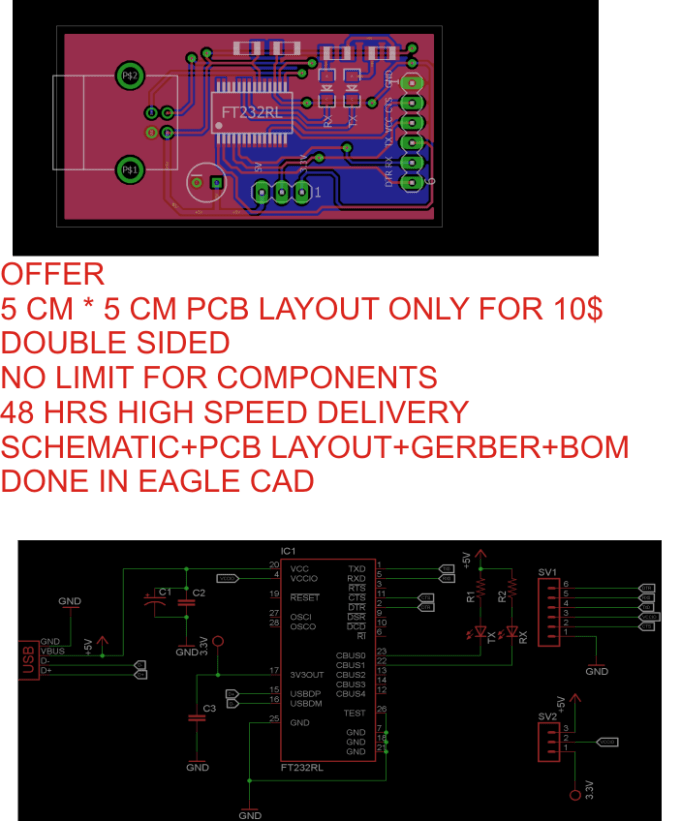 Do professional pcb design in eagle cad by Vishnu9495
