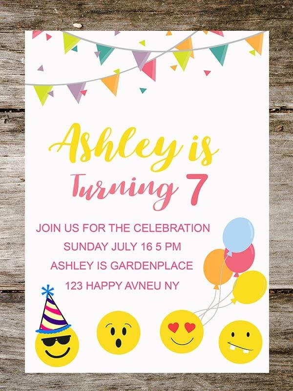 I Will Create Birthday Emoji Party Invitation