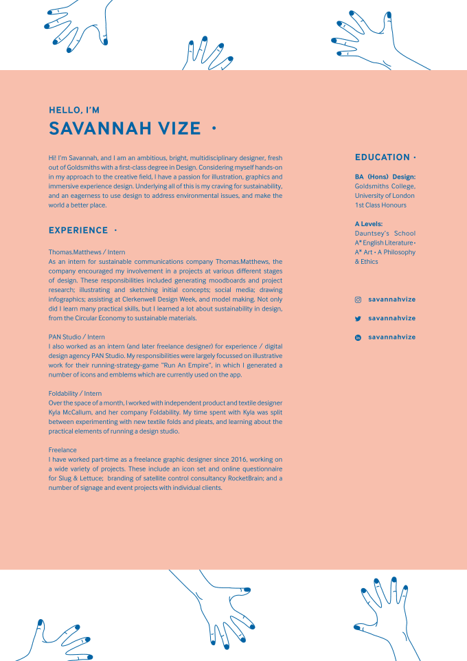 Redesign your cv resume by Savannahvize