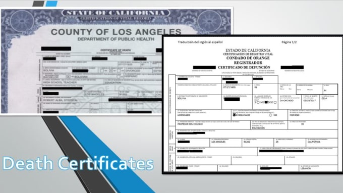 srairias : I will translate death certificates for you for $50 on  www fiverr com