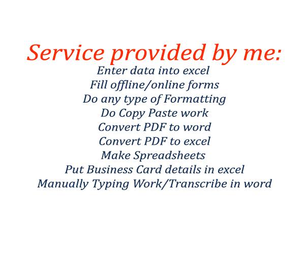 Do perfect data entry work by ahsanhaque do perfect data entry work reheart Gallery