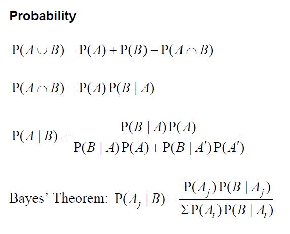 probability and statistic formulas proj