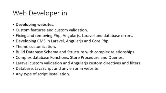 umr_tariq : I will fix and develop angularjs, laravel, php, javascript  websites for $5 on www fiverr com