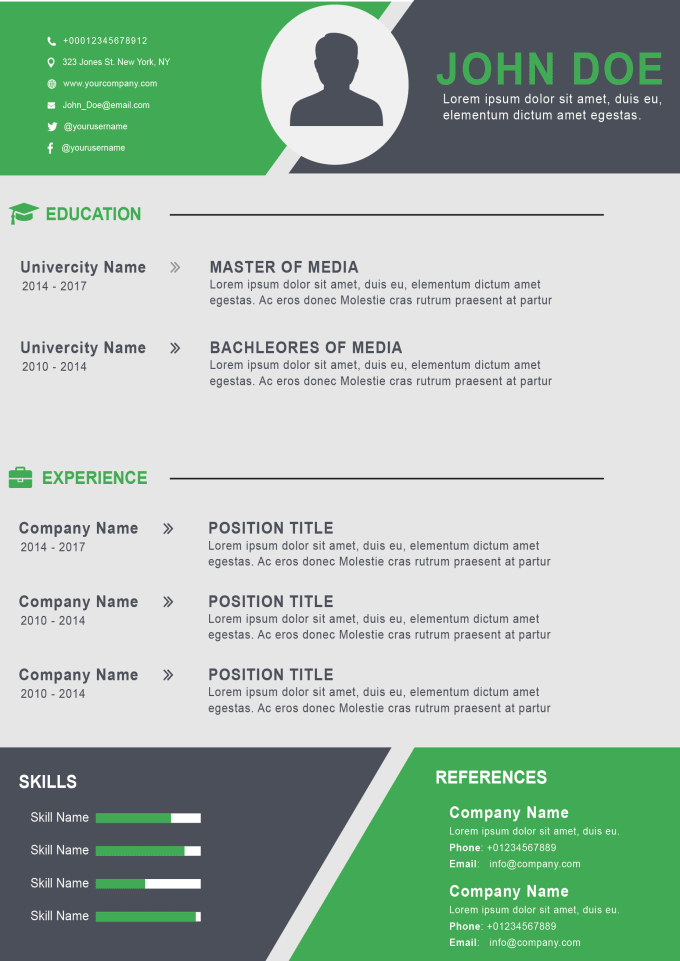 do an attractive cv design  resume design and cover letter