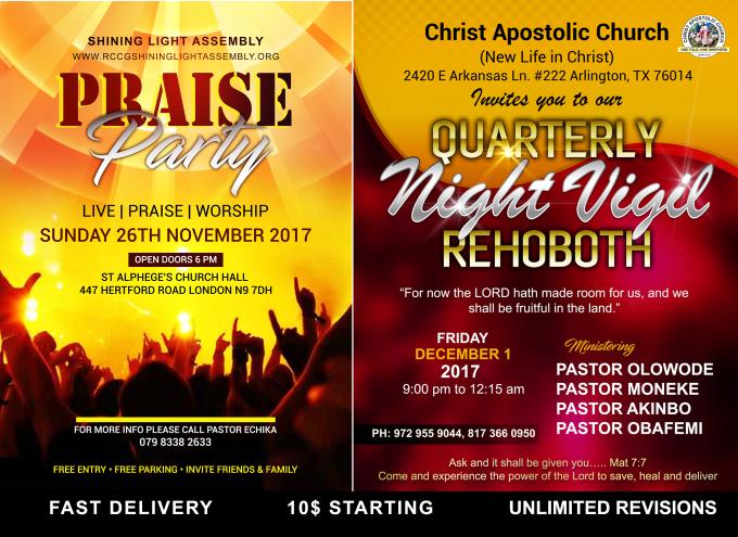 design christian church event program flyer professionally by