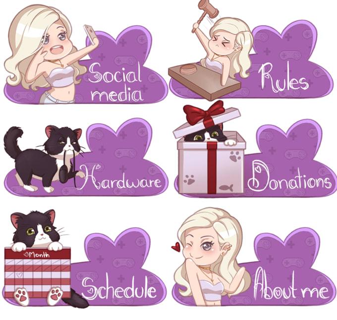 draw you custom twitch profile panels