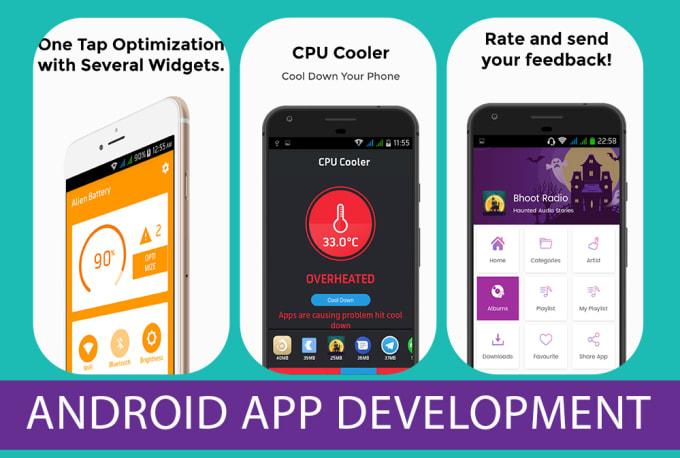 develop android recipes app radio news music videos joke webview app