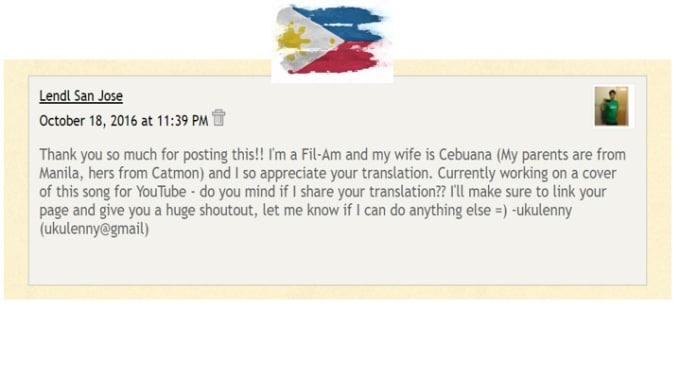 translate tagalog or cebuano song lyrics to english properly
