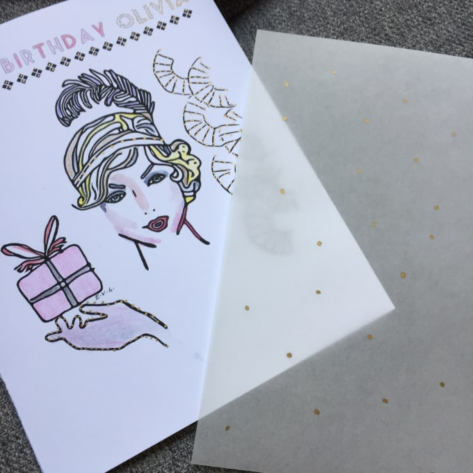 Handpaint And Customize By Name A Birthday Card In Art Deco Style By