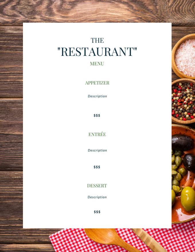 custom make your own restaurant menu by amberabuobeid