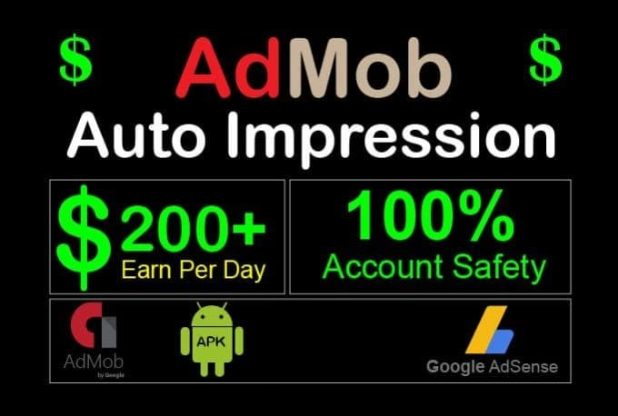 create admob selfclick, auto impression app with reward