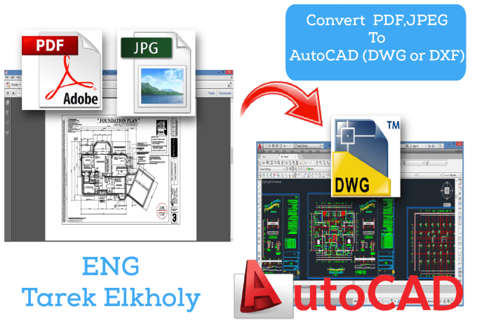 convert your PDF or jpeg drawing to autocad drawing dwg file