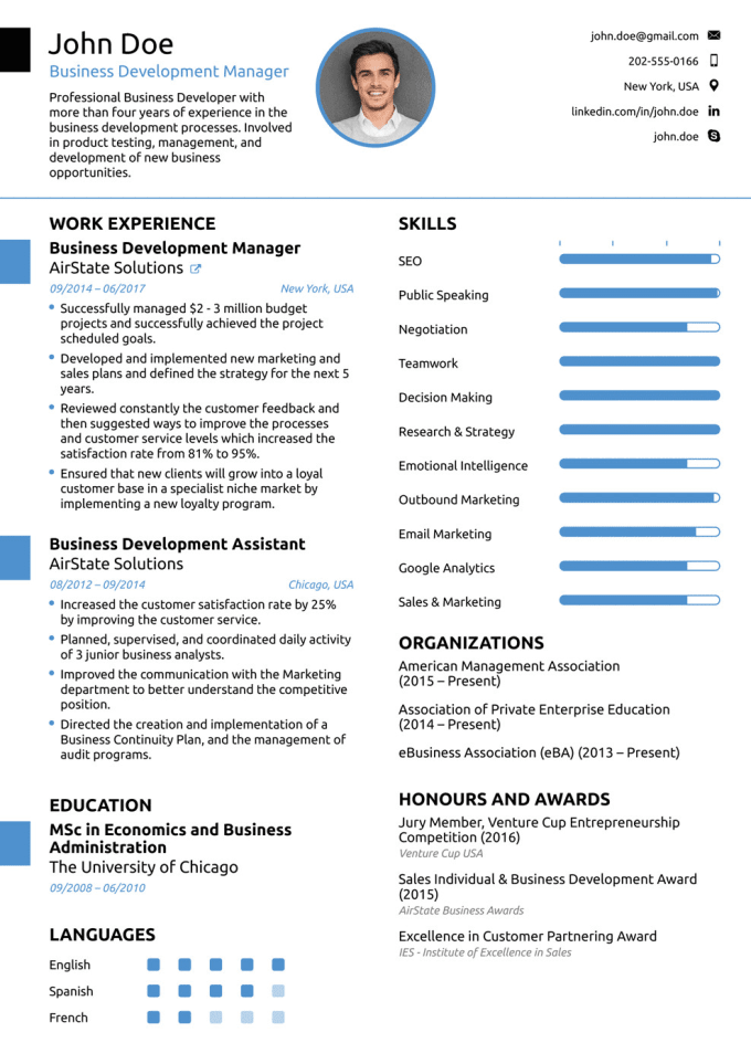 Provides resume writing services
