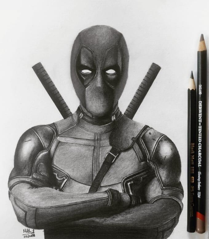 Full Body Realistic Deadpool Drawing