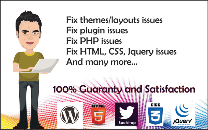 fix html, php, javascript, laravel, yii2 web applications