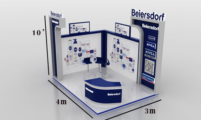 3d Exhibition Booth Design : Design a creative rendered d model of exhibition booth for you by