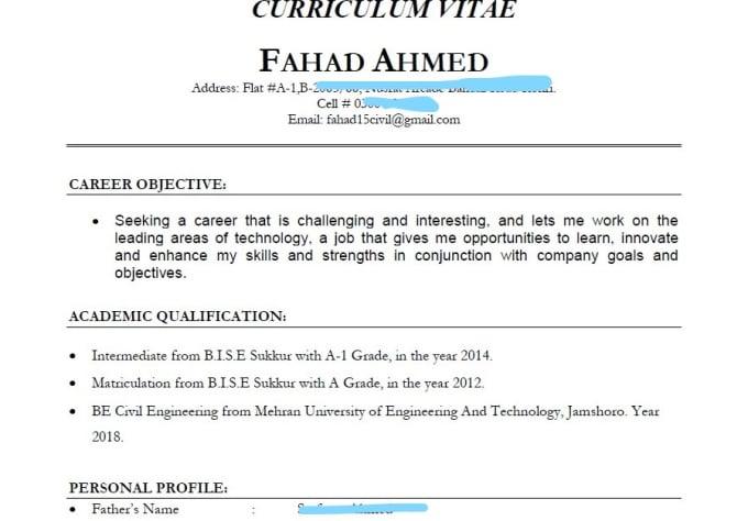 create resume curriculum vitae cv by faayy1