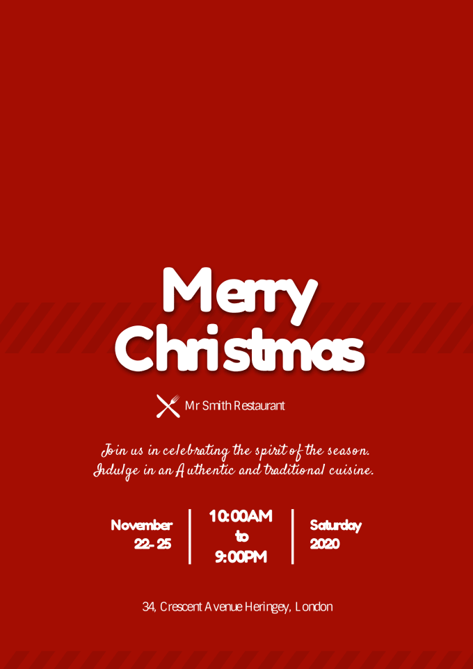 Christmas Restaurant Poster.Design A Christmas Poster For You In Just 10 Hours
