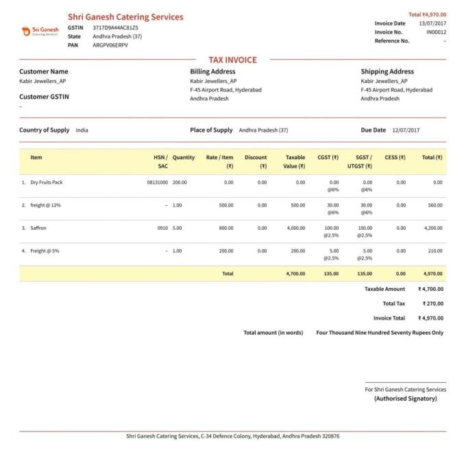 make dynamic invoice PDF format