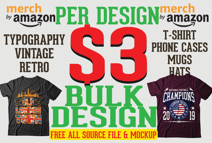 do bulk t shirt designs for amazon or printful