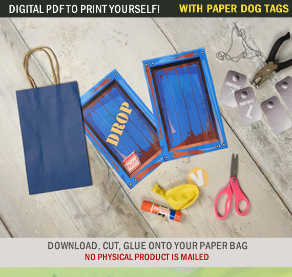 codedwireprints : I will provide fortnite supply drop party favor bags for  $5 on www fiverr com