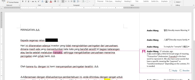 wangandre : I will translate from chinese to english or indonesian for $5  on www fiverr com